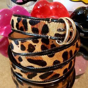 TALBOTS calf hair leopard print thin belt